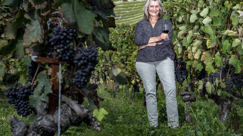Isabelle Ançay travaille souvent seule dans ses vignes. Pour les vendanges qui approchent, elle va être épaulée par des gens de sa famille et de son entourage.