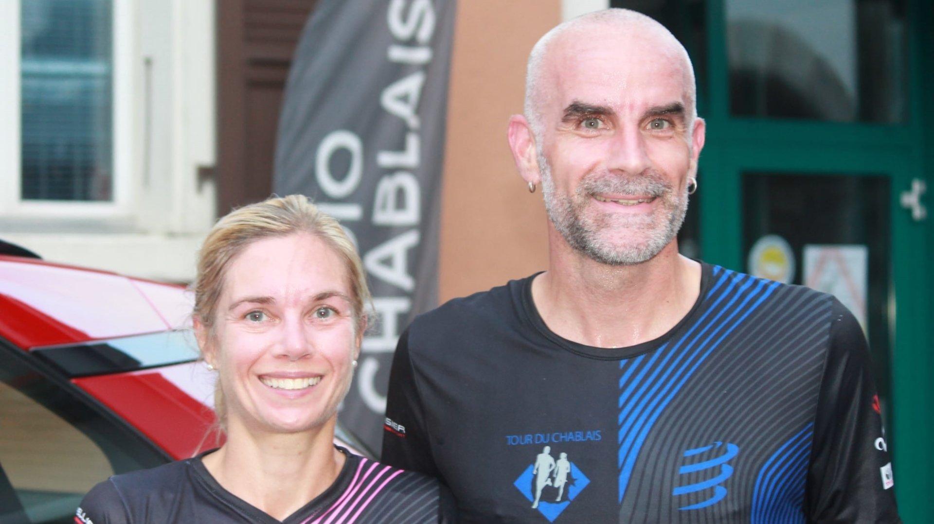 Carmen Rossier Saillen et Pierre-André Ramuz, lauréats de cette édition du Tour du Chablais.