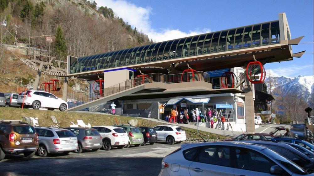 L'actuel départ de la télécabine deviendra la station intermédiaire, d'où partiront 19 nouvelles cabines de 8 places.