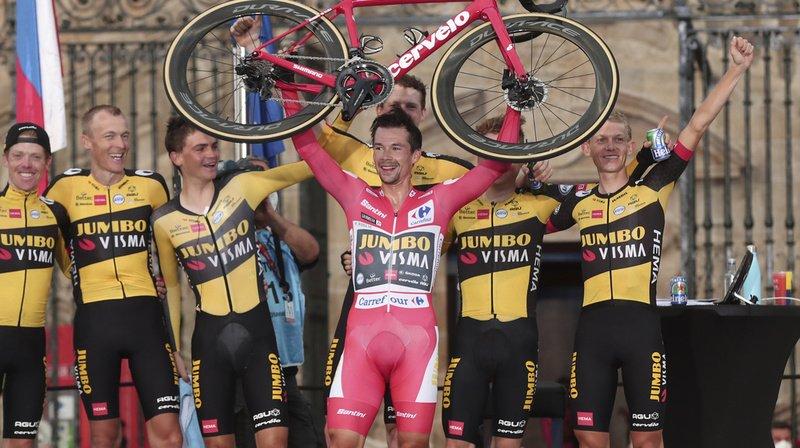 Primoz Roglic (en rose) a remporté l'ultime contre-la-montre.