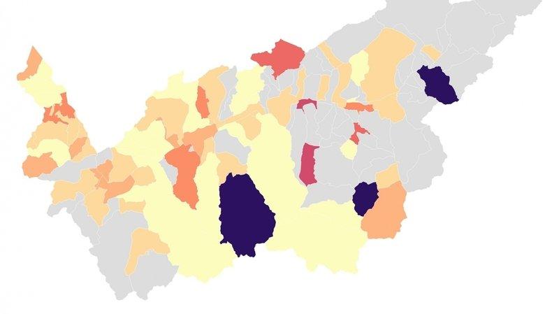 Sur la carte des contaminations de la semaine dernière, Evolène s'allume. Trente et un cas ont été détectés sur la commune du 16 au 22 août.