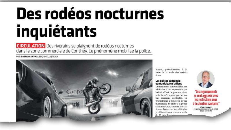 Dans notre article du 6 septembre dernier, des Contheysans se plaignaient de nuisances nocturnes dues au comportement inadéquat de certains automobilistes.