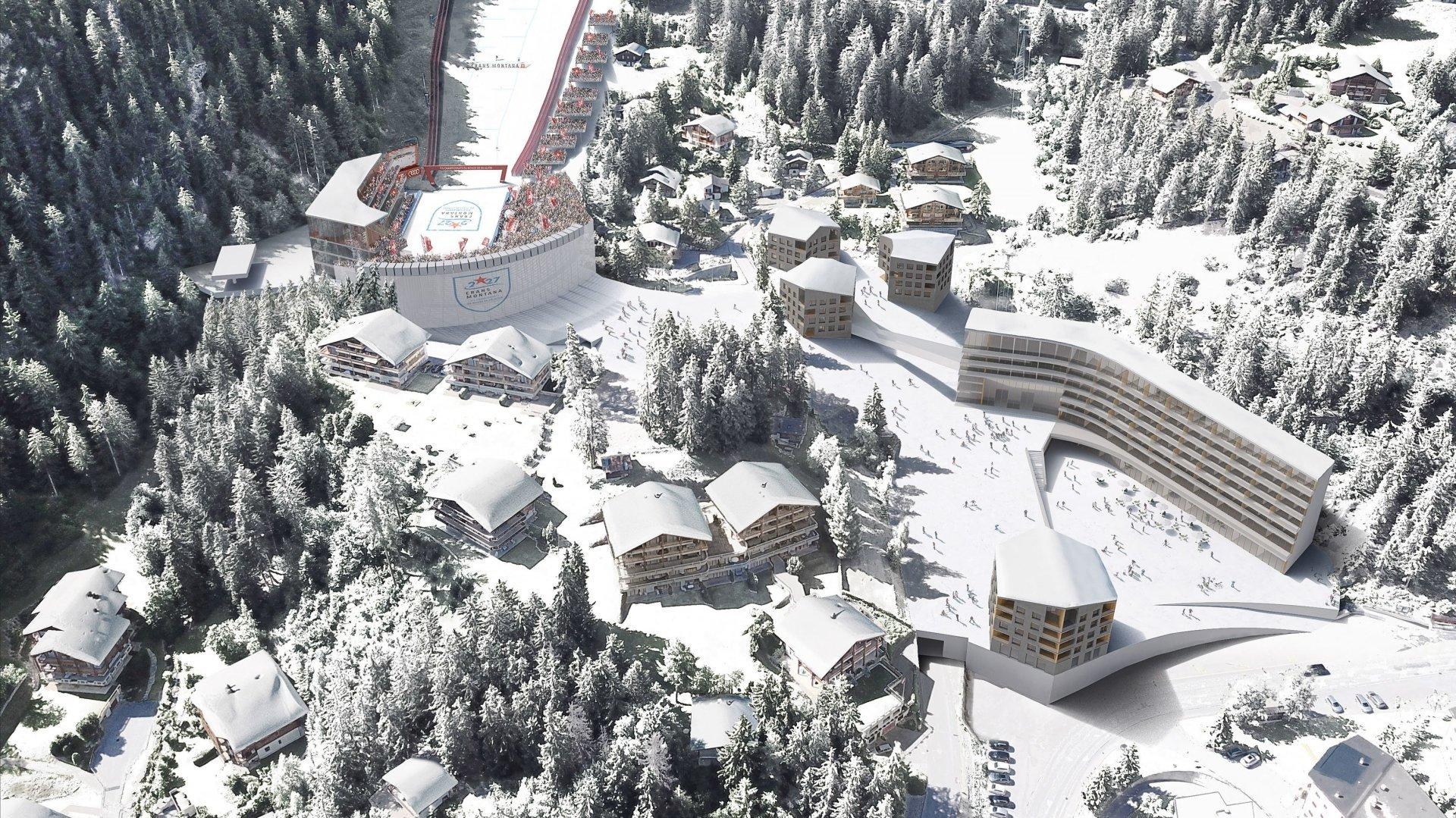 Le quartier «multifonctionnel» des Barzettes comprendra un stade, un hôtel et un village de vacances.