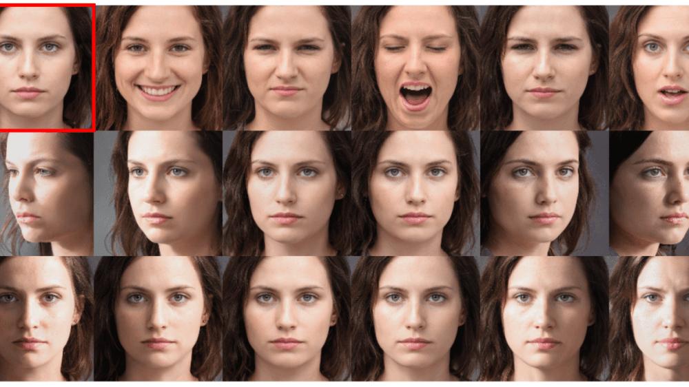 Un exemple de visage de synthèse et ses variations nécessaires à l'entraînement d'un système de reconnaissance faciale.