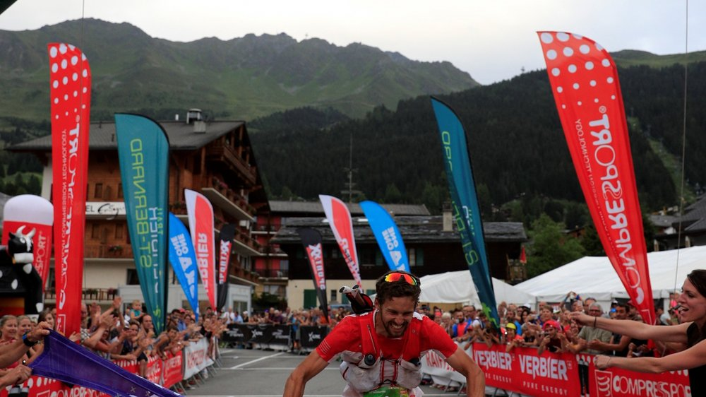 Sacha Devillaz en vainqueur à l'arrivée à Verbier.