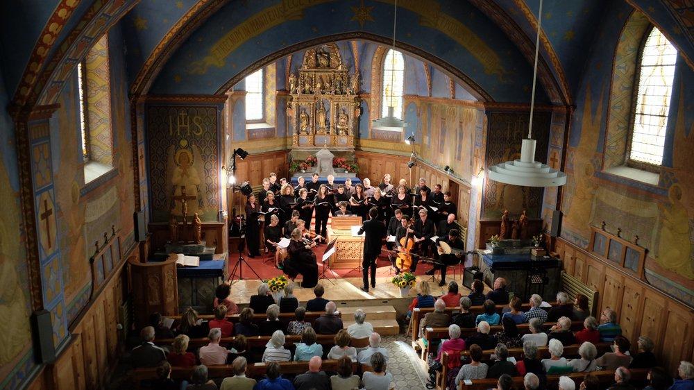 La chapelle des Haudères accueille chaque année depuis 2002  le Festival classique. Ici l'ensemble Post-Scriptum le 29 juillet dernier.