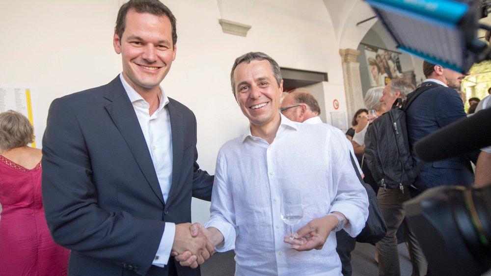 Pierre Maudet (à gauche) a annoncé sa candidature hier, au Festival de Locarno, sur les terres de son principal adversaire, Ignazio Cassis.