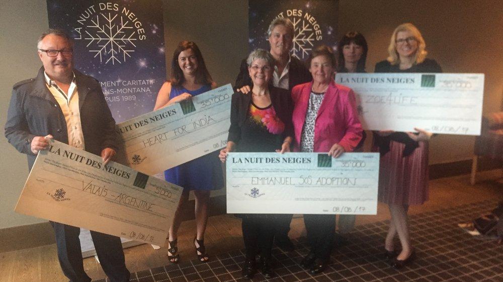 Quatre associations ont bénéficié du soutien de la Nuit des Neiges pour un montant total de 110000francs.