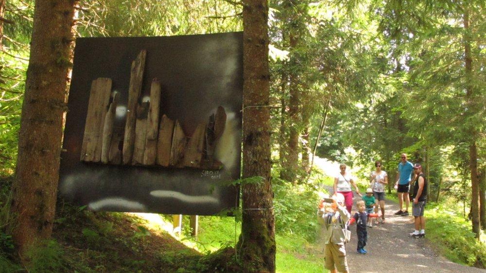 Les promeneurs peuvent découvrir les œuvres recto-verso lors de leur balade dans le vallon de They.