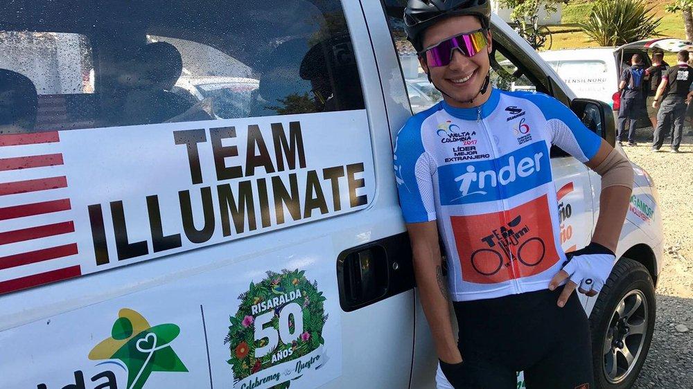 Simon Pellaud a porté durant plusieurs jours le maillot blanc du «meilleur étranger» du Tour de Colombie.