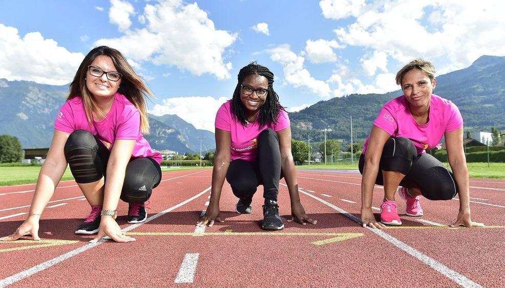 Liliana Sesmil, Angela Borges et Sandra Correia se préparent à la course de La Montheysanne.