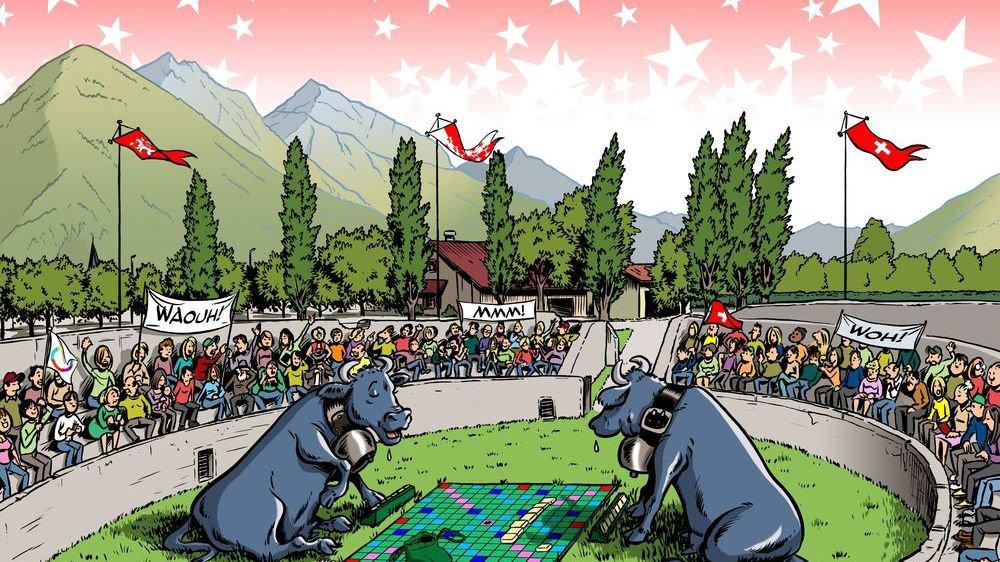 Les affiches des 46èmes championnats du monde de scrabble à Martigny ont été réalisées par le dessinateur de presse Mibé.