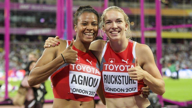 Caroline Agnou (gauche) et Geraldine Ruckstuhl (droite) ont terminé respectivement 21e et 11e de l'heptathlon.