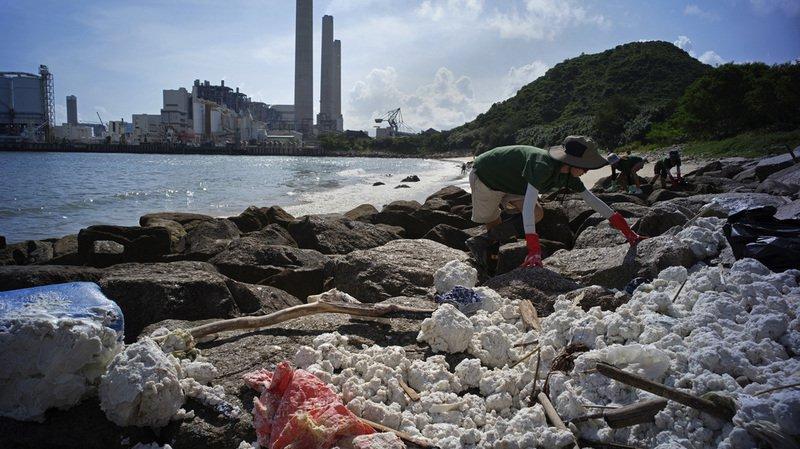 Des volontaires nettoient le rivage recouvert d'huile de palme solidifiée.
