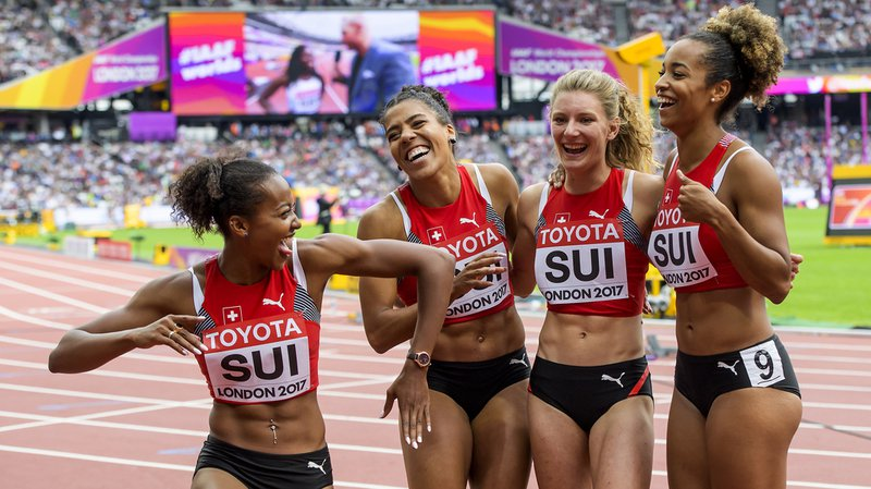 Sarah Atcho, Mujinga Kambundji, Ajla Del Ponte et Salome Kora (de gauche à droite) se sont qualifiées pour la finale avec le 4e temps des demies.