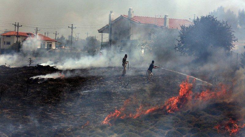 Les pompiers tentent d'éteindre un incendie qui brûle dans une forêt près du village de Kalamos, à 50 km au nord d'Athènes.