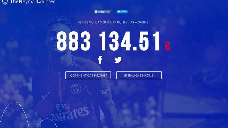 Une page internet comptabilise le salaire de Neymar au PSG en temps réel