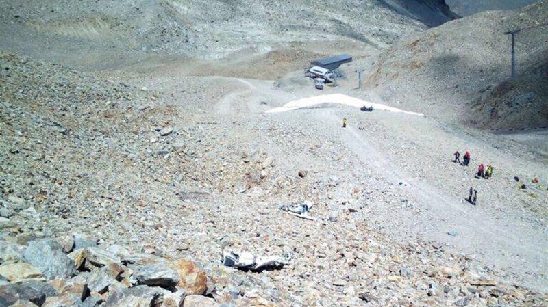 Le lieu du crash du Piper qui transportait les quatre personnes.