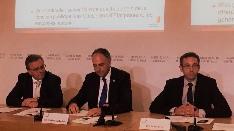 Roberto Schmidt, Christophe Darbellay et Frédéric Favre se plaisent à évoquer le climat de sérénité qui règne au sein du nouveau Conseil d'Etat valaisan.