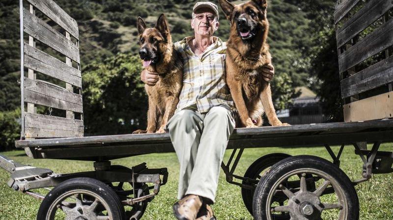 """Georges Gaillard et deux de ses """"petits"""" protégés: deux magnifiques bergers allemands."""