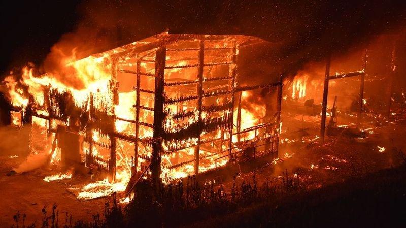 Le fermier qui exploitait la halle à poulets a été réveillé par le crépitement des flammes, peu après minuit.