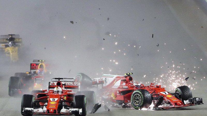 Formule 1: Hamilton profite de la collision entre Vettel et Raikkonen pour gagner et s'envoler au général