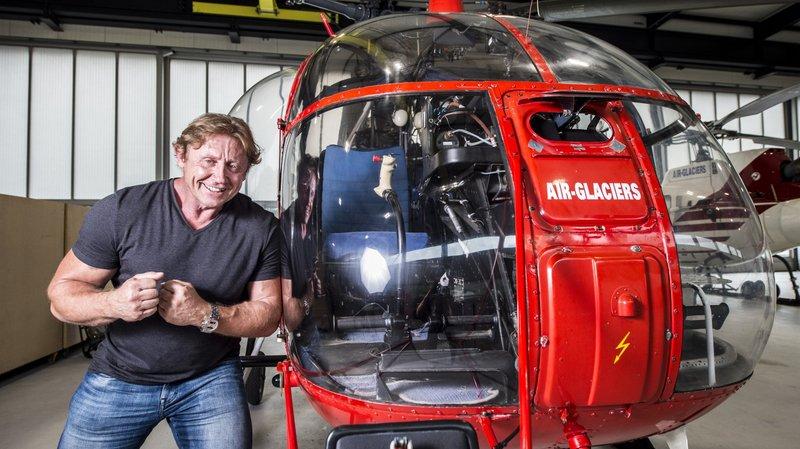 Jean-Louis Locher et le Lama, son hélicoptère de prédilection.