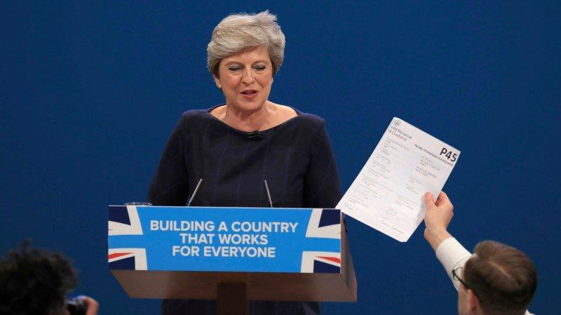 Theresa May a été interrompue lors de son discours, mercredi.