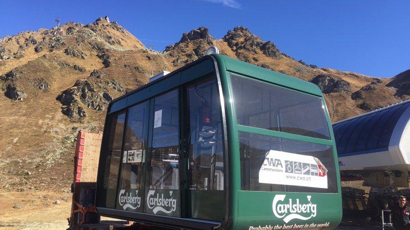"""La nouvelle cabine du téléphérique """"Mont-Gelé"""" est arrivée sur les hauts de Verbier"""