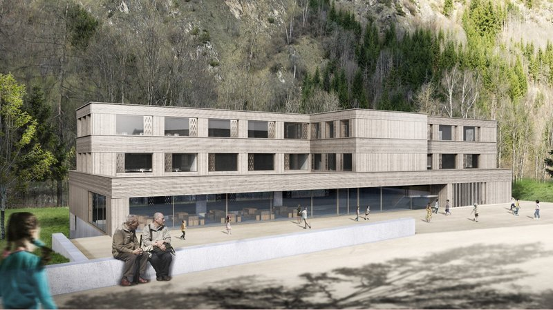 Le bâtiment a été conçu par l'ATELIER MARCH de Genève. Il se veut évolutif, permettant de rajouter jusqu'à quatre classes supplémentaires.