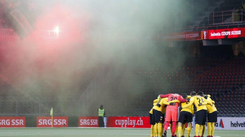 Les joueurs de Young Boys, avant le début du quart de finale remporté contre St-Gall, le jeudi 30 novembre 2017 au Stade de Suisse.