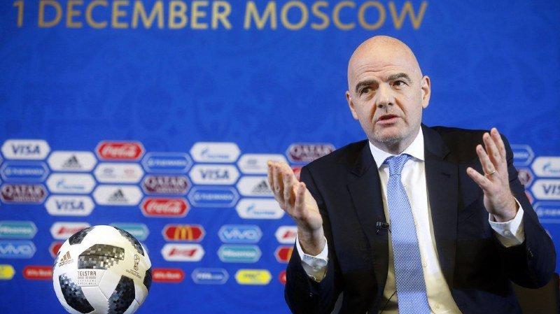 Le président de la FIFA Gianni Infantino s'est exprimé quelques heures avant le tirage au sort au Kremlin lors d'une conférence de presse,