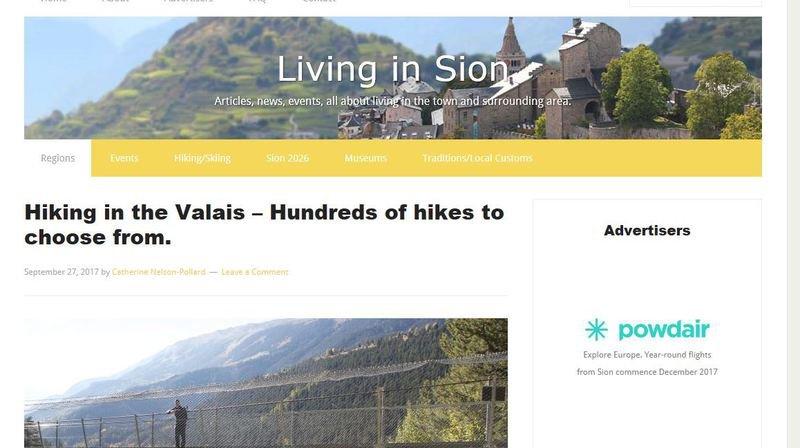 Informations sur des événements ou articles sur des acteurs locaux, le site veut présenter le Valais aux anglophones du canton.