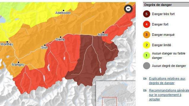 La carte de danger d'avalanche pour le Valais atteint exceptionnellement le degré 5.