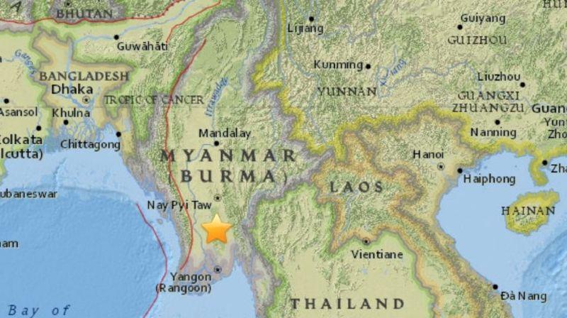 Le séisme s'est produit à 38 km à l'ouest de Pyu.