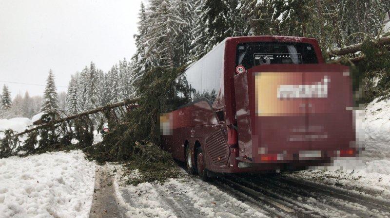 Le car a été fortement endommagé, mais personne n'a été blessé.