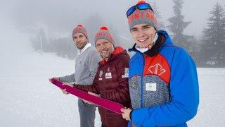 Ski-alpinisme: une verticale sur la piste de Coupe du monde du Mont-Lachaux