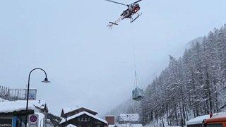 Pont aérien temporairement mis en place à Zermatt