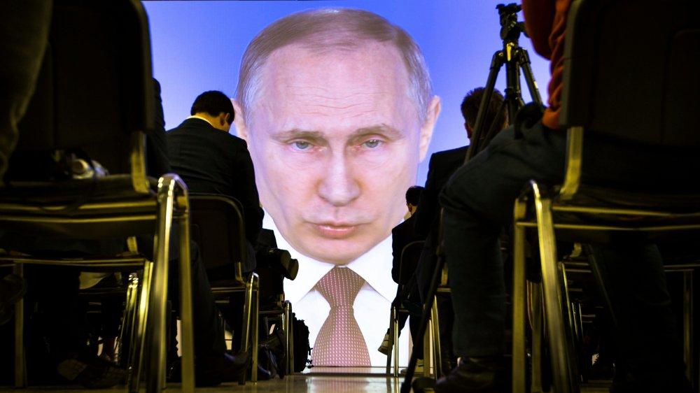 Vladimir Poutine prononçait son discours sur l'état de la nation, hier, à Moscou.