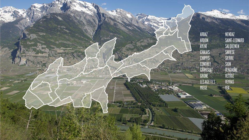 L'agglo Valais central regroupe 19 communes de plaine et sur les coteaux.