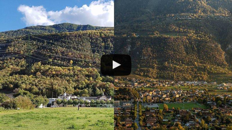 Ligne THT Chamoson-Chippis: deux photomontages, deux visions très différentes de l'impact du tracé aérien