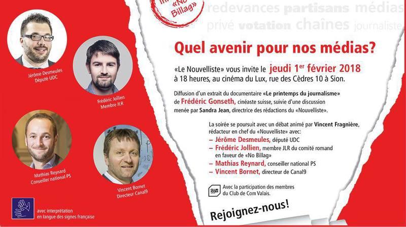 """Rencontres du Nouvelliste: débat public sur l'initiative """"No Billag"""" à Sion"""