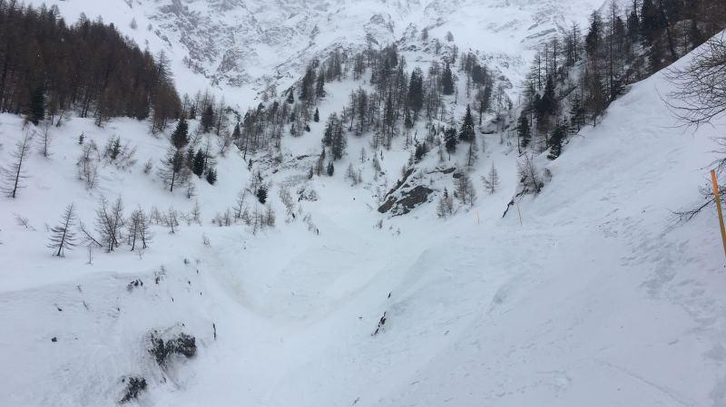 L'avalanche, qui a emporté deux randonneurs, a eu lieu dans la combe du Torrent de La Fouly.