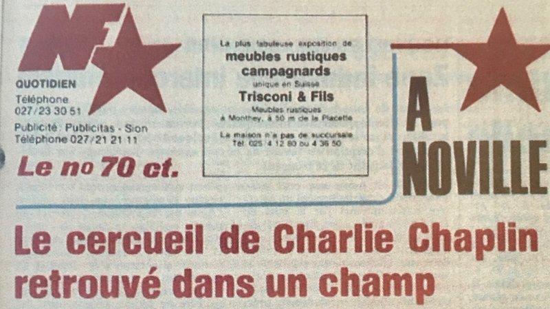 Il y a quarante ans, le cercueil de Charlie Chaplin était volé, puis retrouvé dans le Chablais