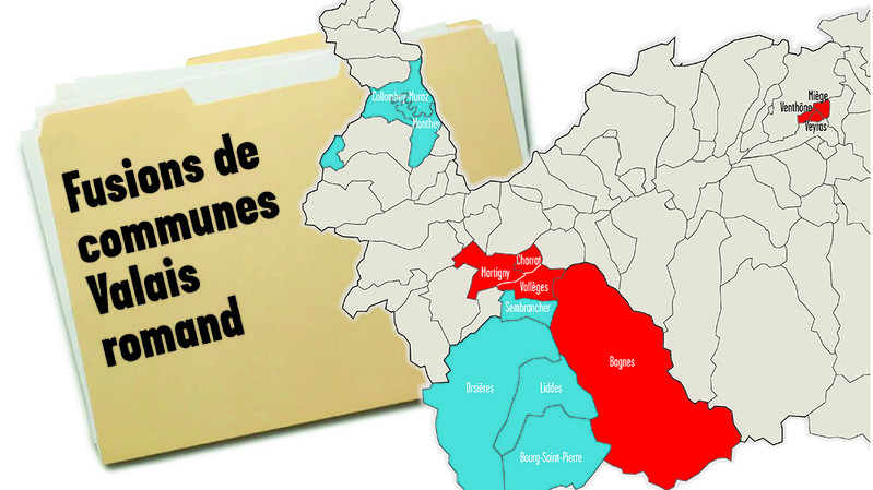 Sept communes du Valais romand fusionneront en 2021 (rouge) et quatre en 2024 (bleu).