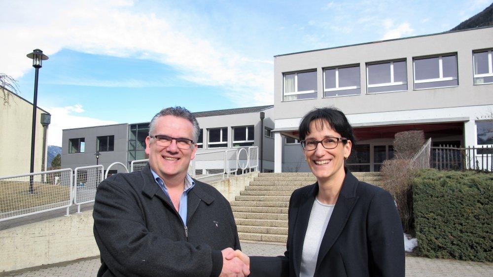 Léonard Moret et Anne-Laure Couchepin Vouilloz, deux présidents très heureux de l'issue du scrutin.