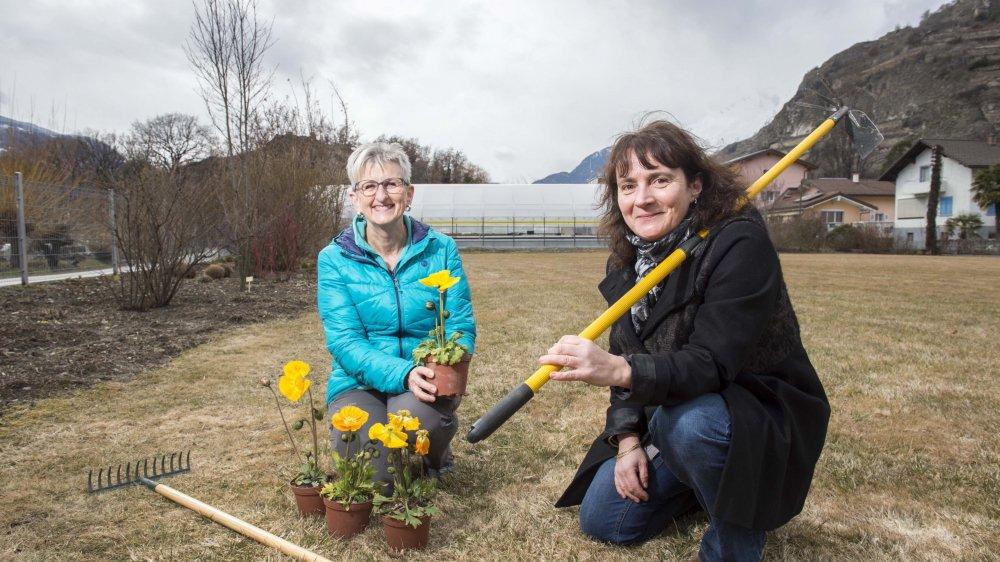 Dominique Sprunger (à gauche) et Marie-Cécile Praz se réjouissent de se mettre à la tâche.