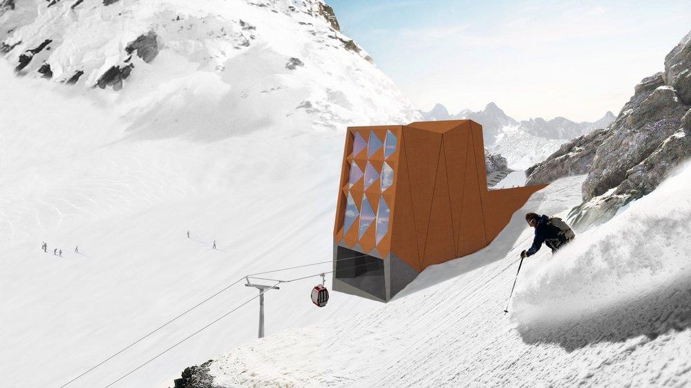Le projet consiste à transformer l'ancienne gare d'arrivée de la télécabine du Super-Saint-Bernard, à 2800 mètres d'altitude, en un confortable lodge.