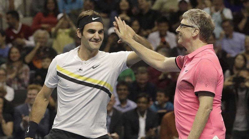 """Déjà associés et victorieux l'an dernier à Seattle lors du """"Match for Africa IV"""", Roger Federer et Bill Gates ont remporté ce double 6-3."""