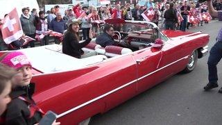 Wendy Holdener accueillie chez elle en Cadillac
